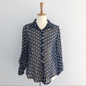 About a Girl Polka Dot Sheer Blouse Size Large